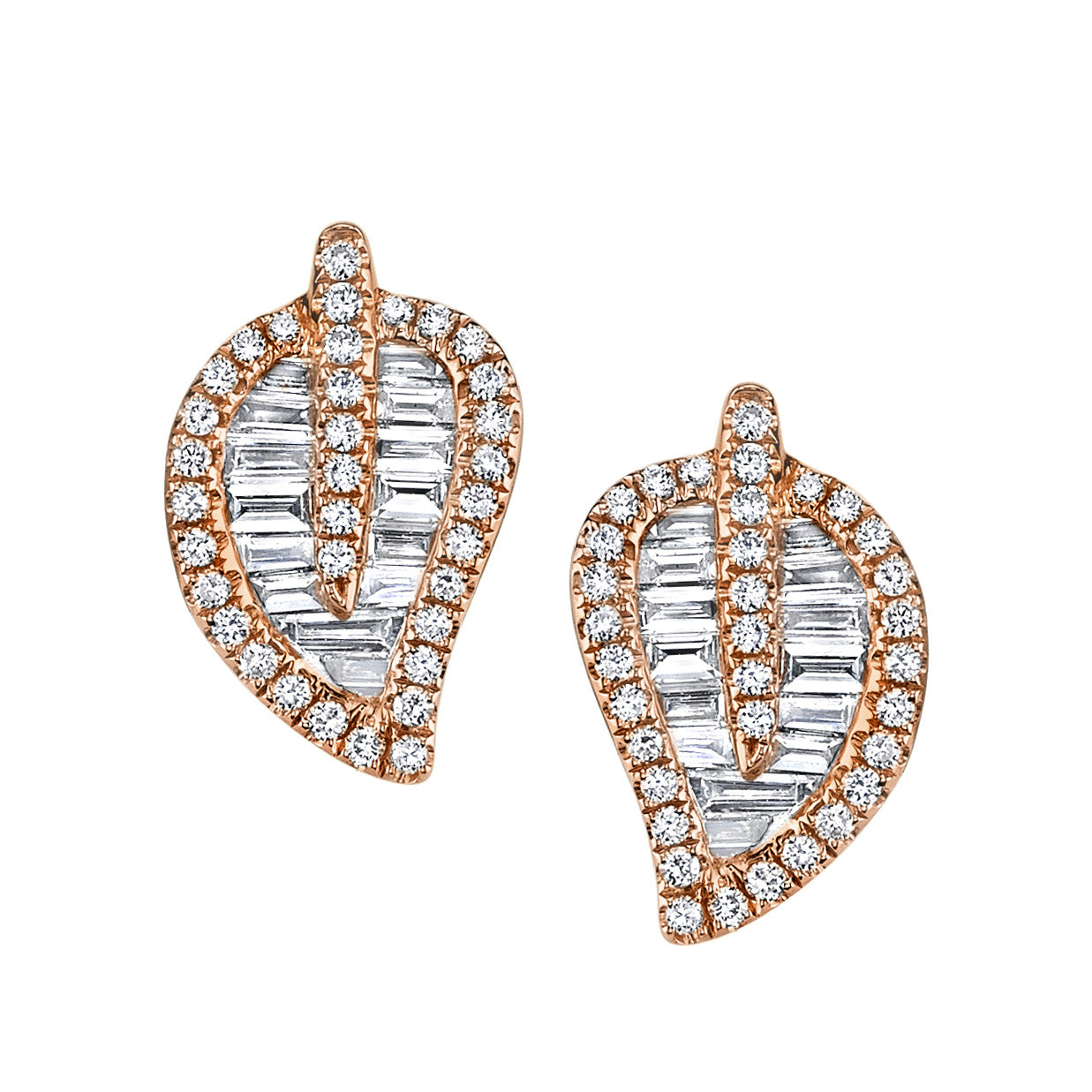 ANITA KO - ROSE GOLD MEDIUM LEAF STUDS