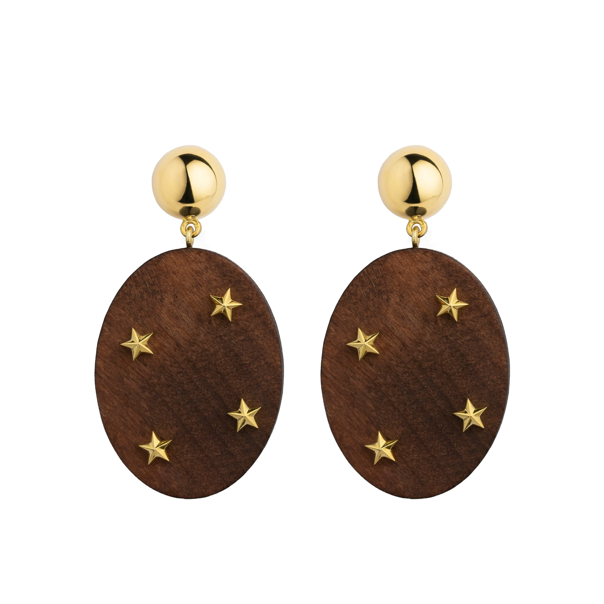 ESHVI - MIDNIGHT KISS STAR WOOD EARRINGS