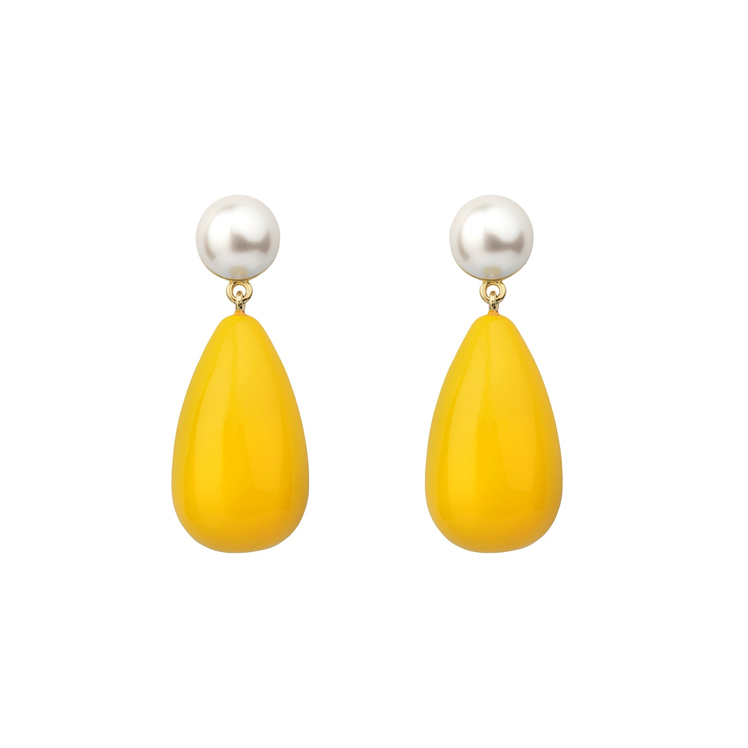 ESHVI - MIDNIGHT KISS PEARL YELLOW DROP EARRINGS