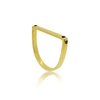 MAYA MAGAL - GOLD SPOTLIGHT RUNWAY RING WITH BLACK DIAMONDS