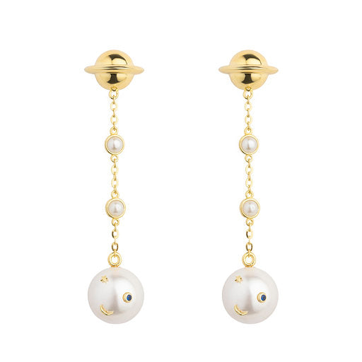 ESHVI - ASTRO CHAIN SMILEY PEARL EARRINGS