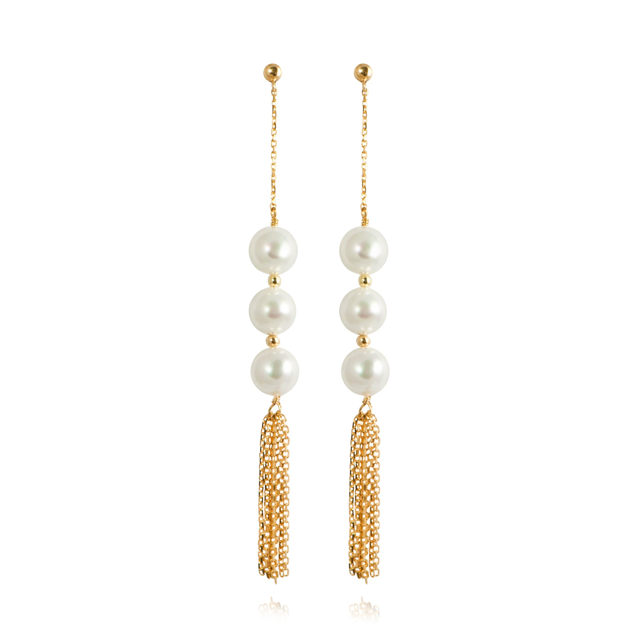 APPLES & FIGS - PEARL DROP FOUNTAIN TASSEL EARRINGS