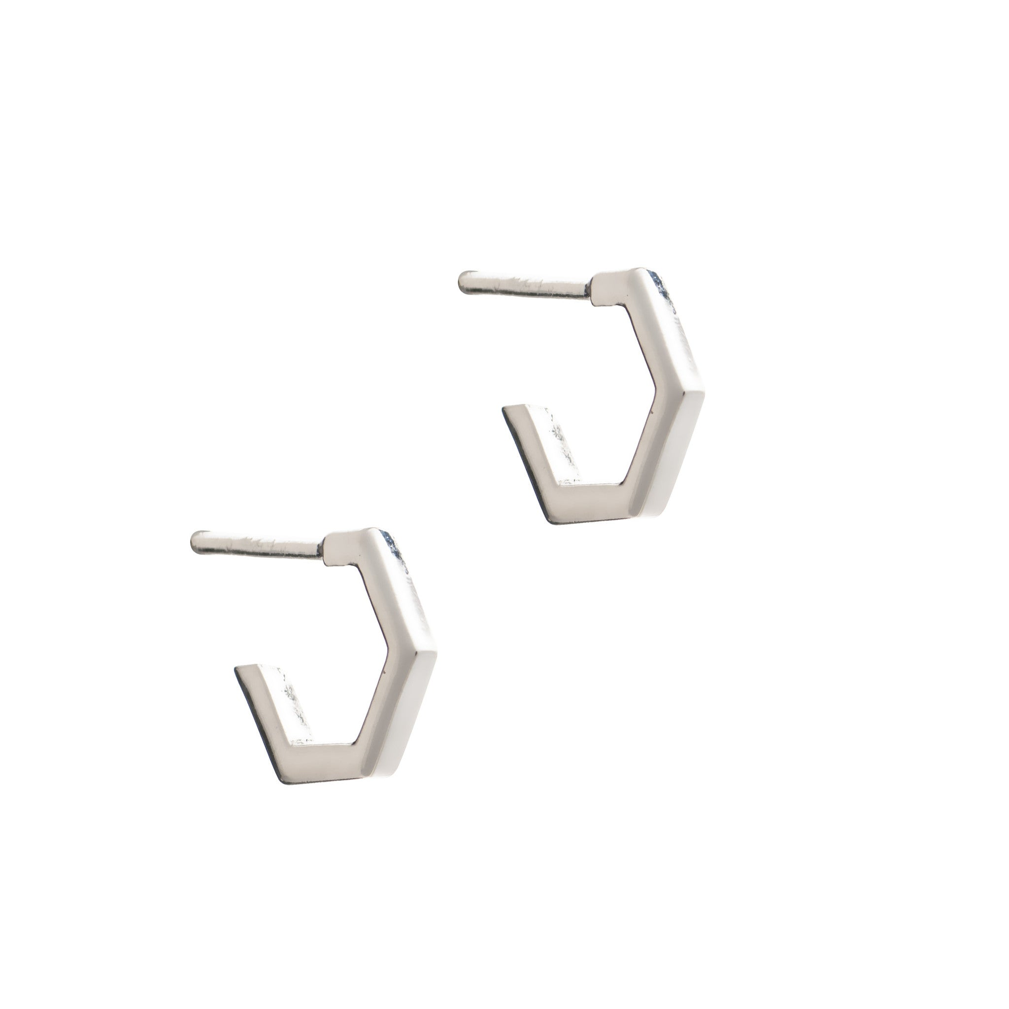 RACHEL JACKSON - TINY SILVER HEXAGON HOOPS