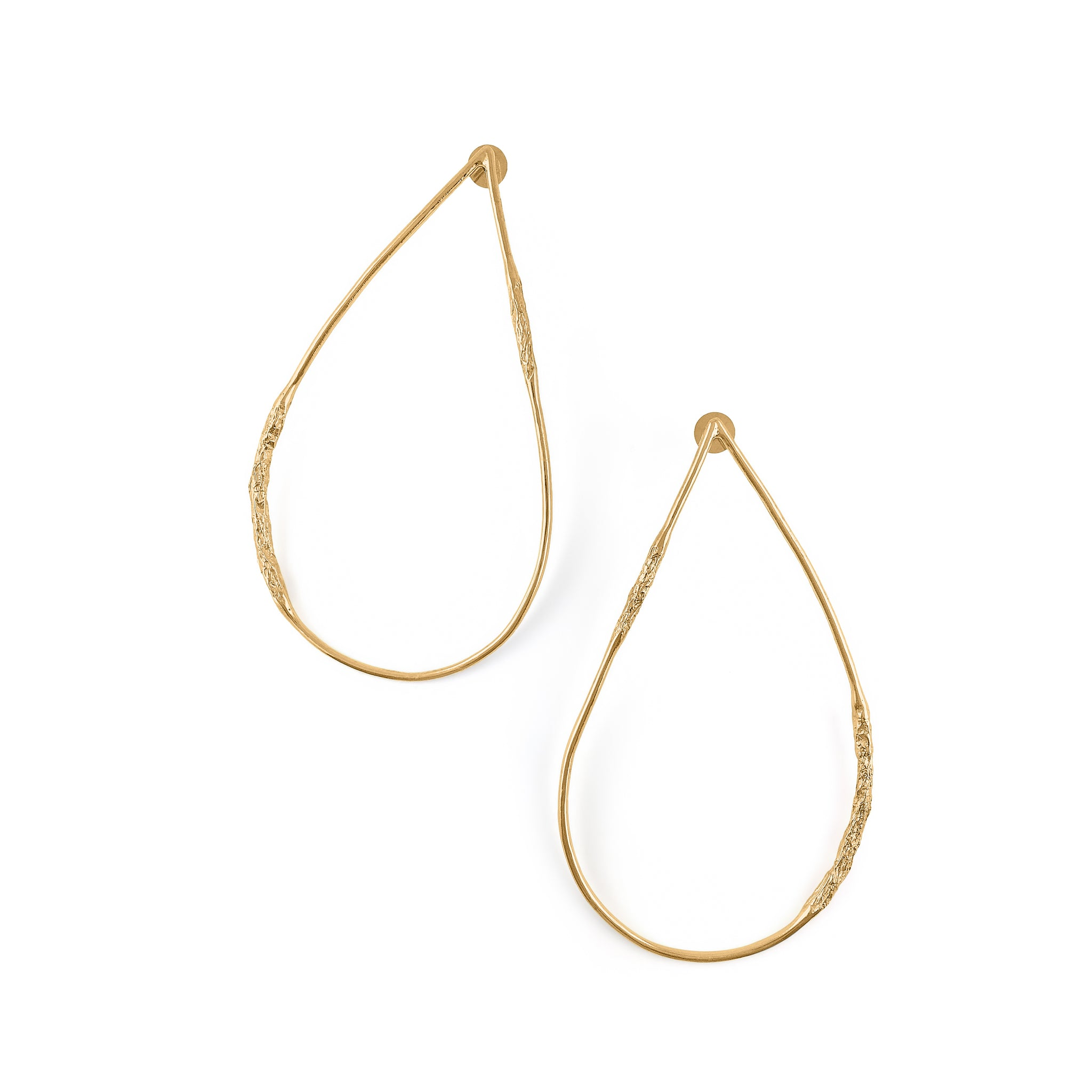 MISHO DESIGNS - TEXTURED PEAR HOOP EARRINGS