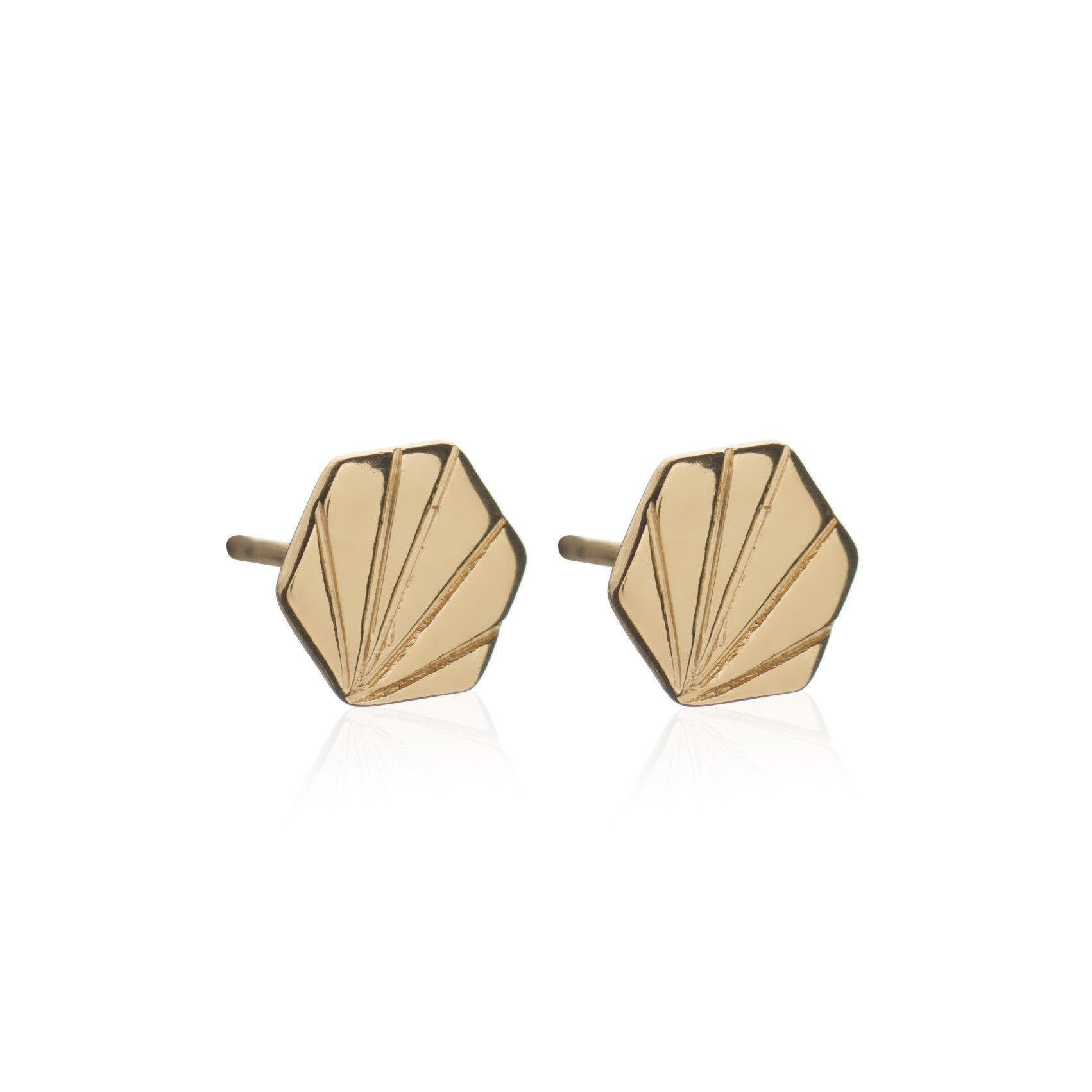 Rachel Jackson - Gold Hexagon Studs
