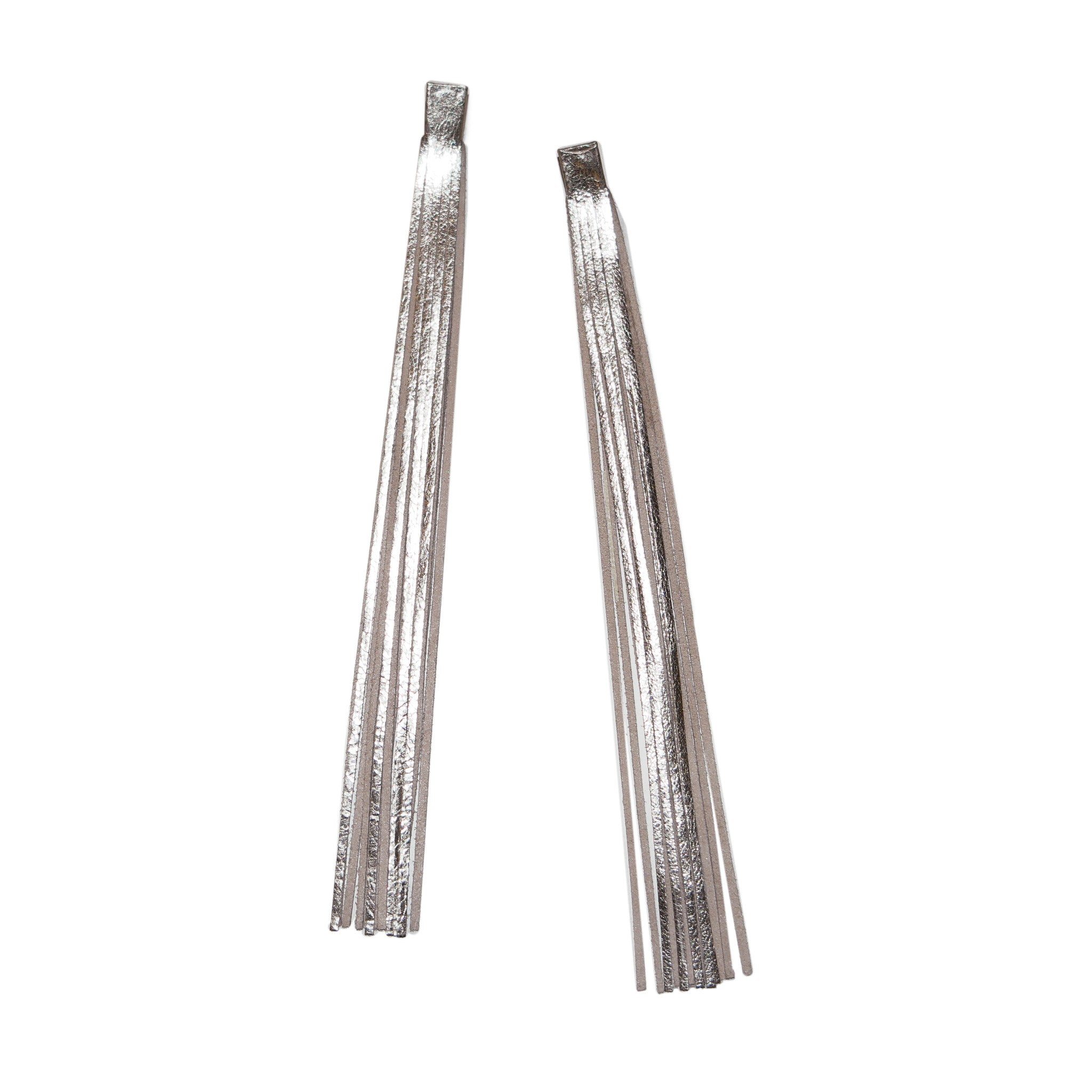 SASKIA DIEZ - SILVER LEATHER TASSEL EARRINGS