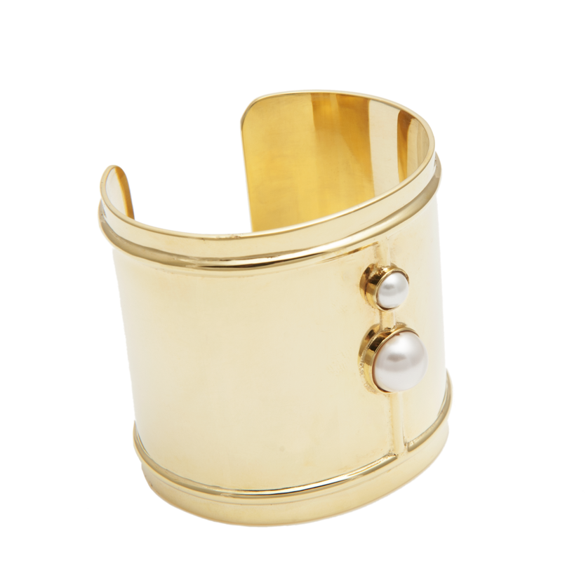 Edge of Ember - Gold Duo Pearl Cuff