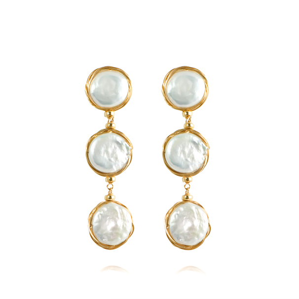 APPLES & FIGS - EDEN THREE BAROQUE PEARL EARRINGS