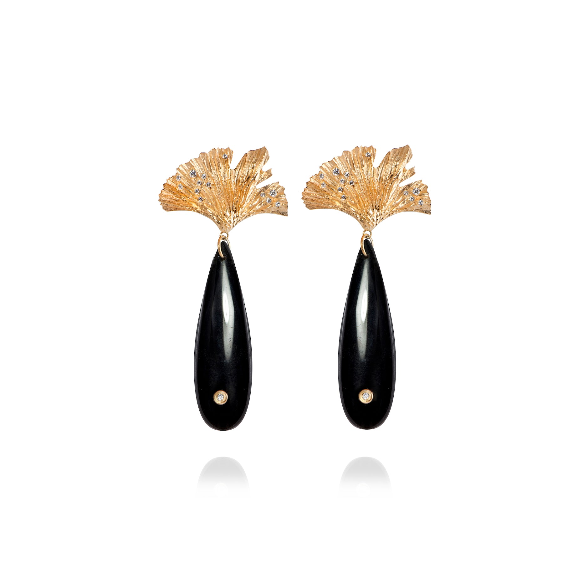 APPLES & FIGS - SEA SHORE OBSIDIAN & GOLD LEAF EARRINGS