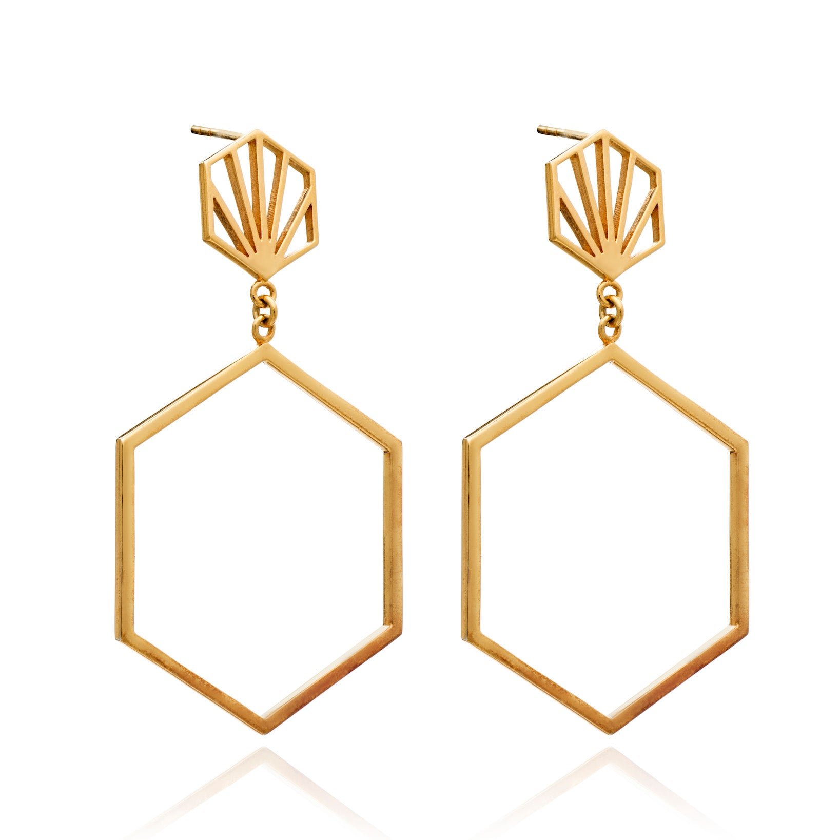 RACHEL JACKSON - STATEMENT HEXAGON DROP EARRINGS