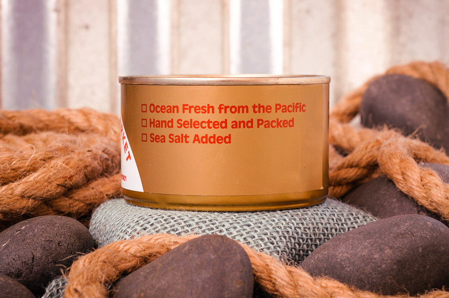 Fisherman's Market canned, fresh-packed Albacore Tuna Ingredients. Fresh caught Oregon Coast fish.