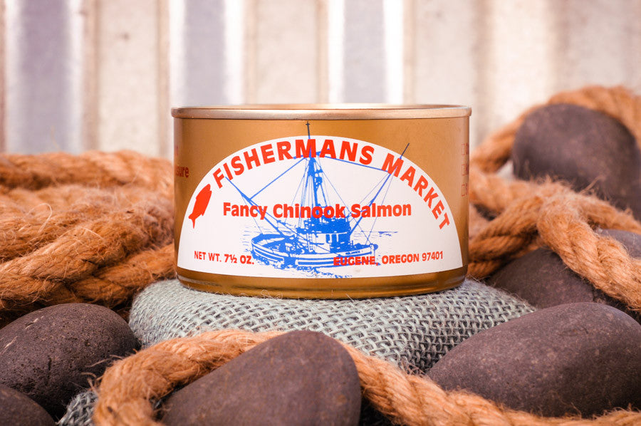 Fisherman's Market canned, fancy, fresh-packed Chinook Salmon. Fresh caught Oregon Coast fish.
