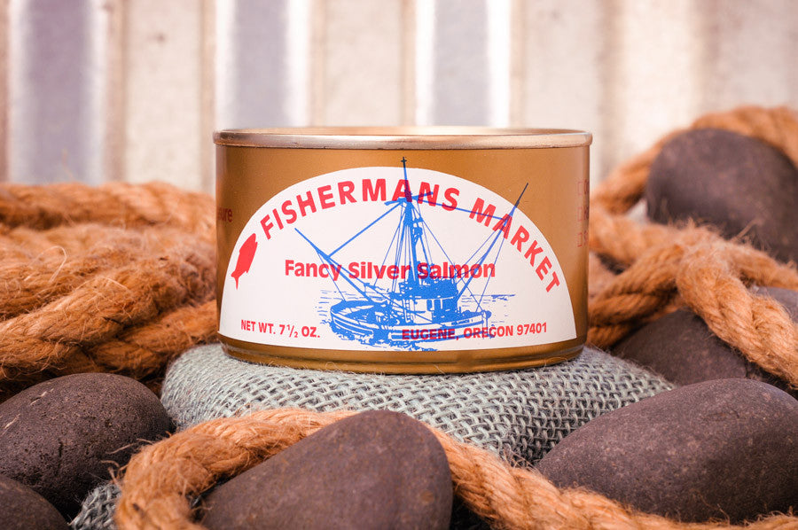 Fisherman's Market canned, fancy, fresh-packed Silver Salmon. Fresh caught Oregon Coast fish.