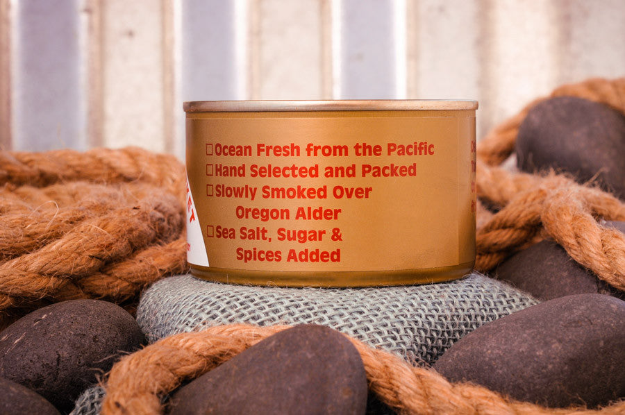 Fisherman's Market smoked Albacore Tuna Ingredients. Wild-caught Oregon Coast fish.