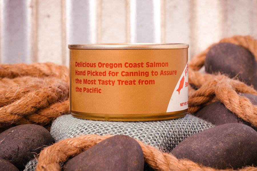Fisherman's Market Canned Smoked Chinook Salmon. Wild-caught Oregon Coast fish.