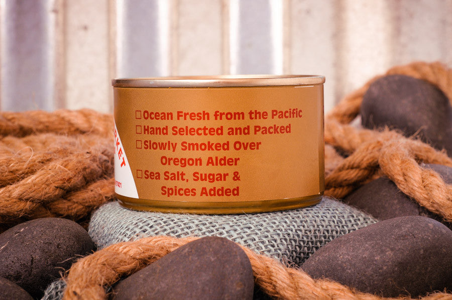 Fisherman's Market Canned Smoked Chinook Salmon Ingredients. Wild-caught Oregon Coast fish.