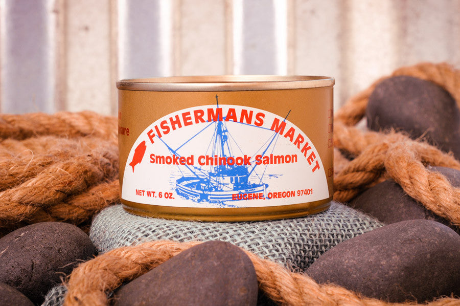 Fisherman's Market Canned Smoked Chinook Salmon. Fresh caught Oregon Coast fish.
