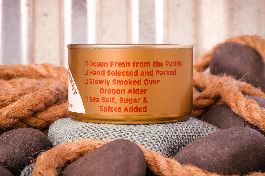 Fisherman's Market Canned Smoked Silver Salmon Ingredients. Fresh caught Oregon Coast fish.