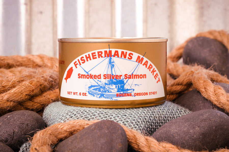 Canned Smoked Silver Salmon from Fisherman's Market. Wild-caught Oregon Coast fish.