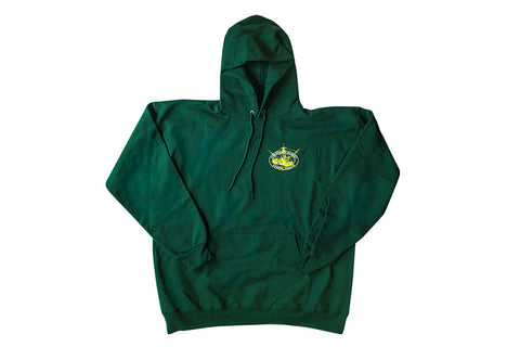 Fisherman's Market Green Hoodie with Yellow Graphics
