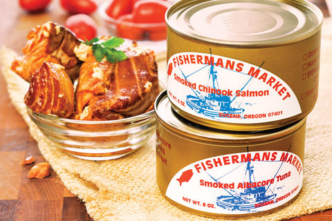 Canned smoked and fancy (fresh-packed) Chinook Salmon Silver Salmon and Albacore Tuna. Fisherman's Market Bosun Gift Box. Wild-caught Pacific Northwest fish.