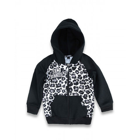 SIX BUNNIES BLACK WHITE ANIMAL PRINT LEOPARD PRINT Hoodie