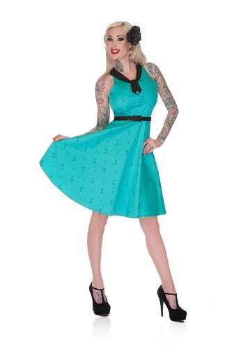 Voodoo Vixen Teal Martini Print Swing Dress w halter neck Size 16