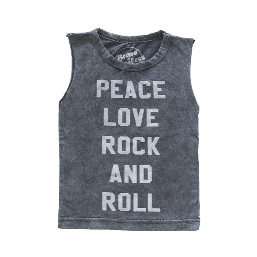 Peace Love & Rock and Roll Kids Muscle tee
