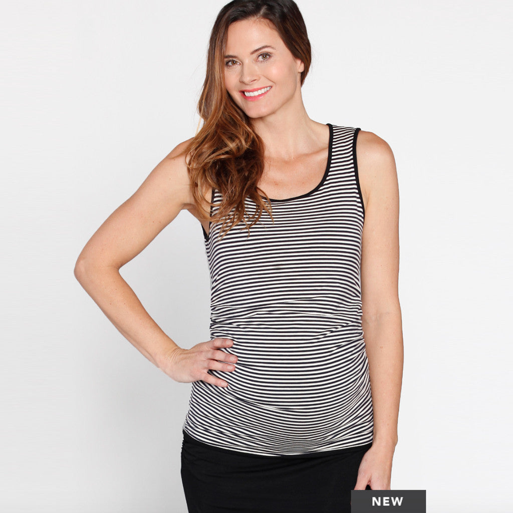 Reversible Maternity Sleeveless Top in Black/ Stripes