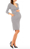 Long Sleeve White Polkadot Pencil Dress