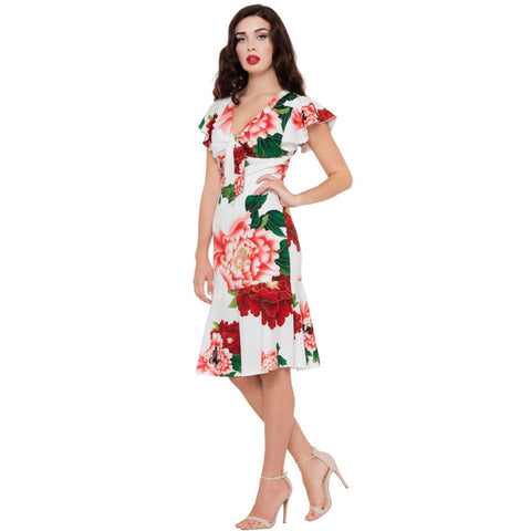 Voodoo Vixen WHITE Floral Myrna Dress