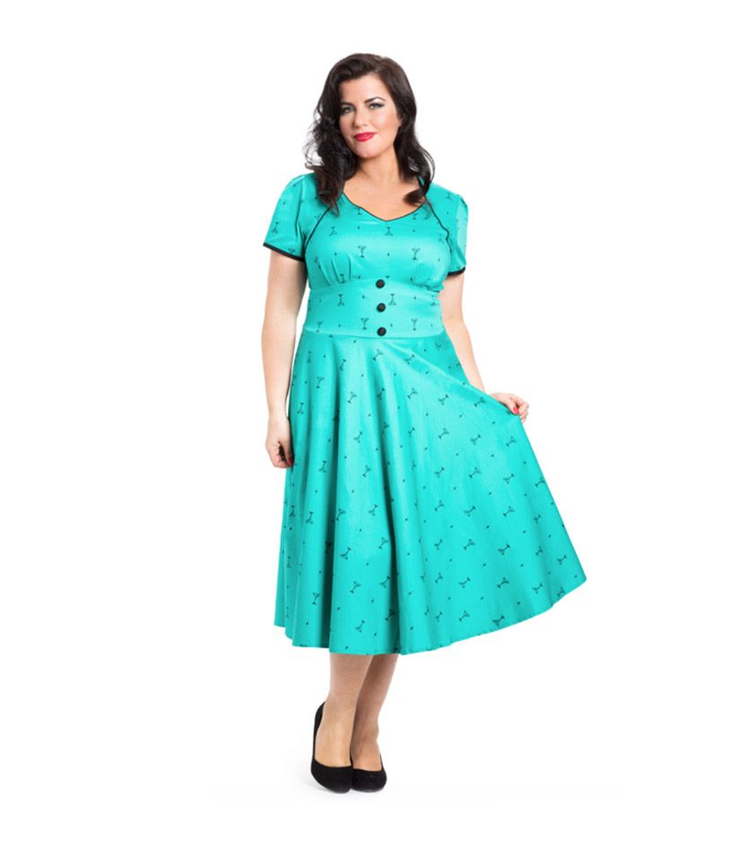 Voodoo Vixen Teal Martini Print Swing Dress w Cap sleeve