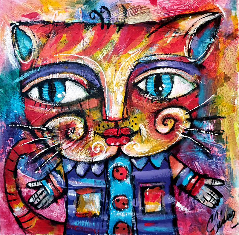 "Carlos Cesar Roman Perez ""Button Cat"" Cubanocanadian Original Cuban Art Arte Cubano"