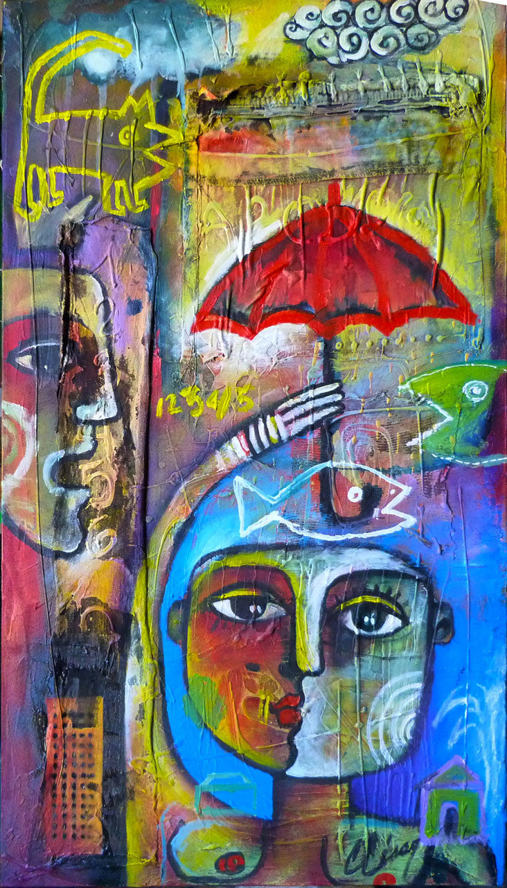 Carlos Cesar IT'S RAINING Cubanocanadian Original Cuban Art for Sale