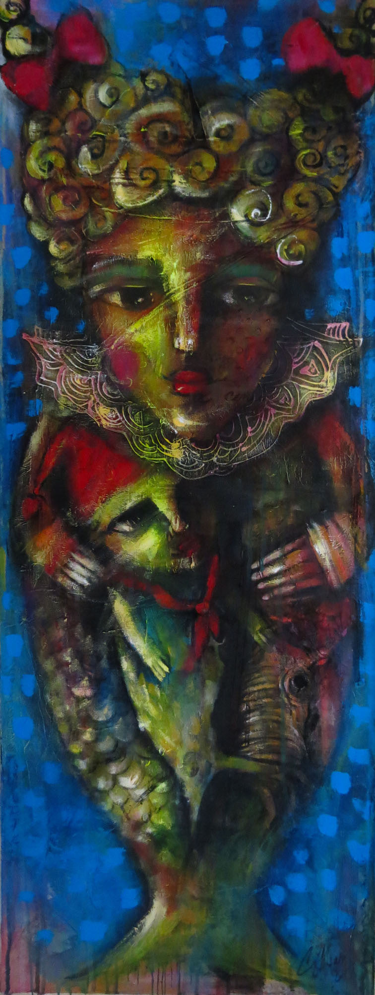 Out of the Water Carlos Cesar Roman Original Cuban Art Arte Cubano