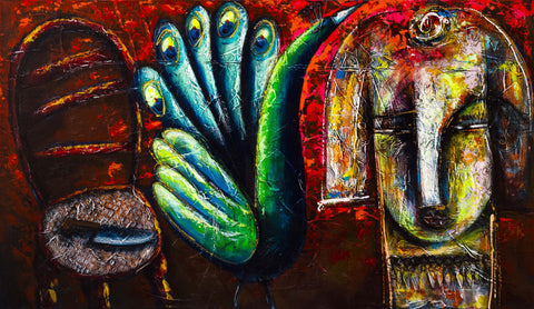 Julio Cesar Cepeda PEACOCK Original Cuban Art Cubanocanadian