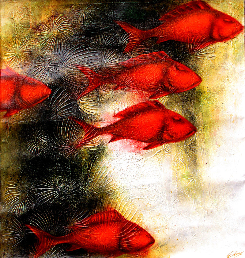 """Red Fish"" - Diptych-  Edras Francisco Rodriguez"