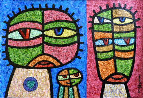 The Family Guillermo Esquerra Diaz Original Cuban Art
