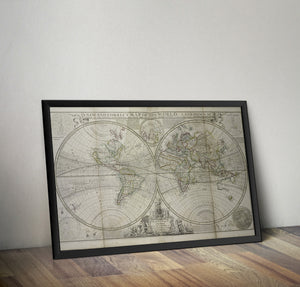 Herman Moll's Map of the World  - 1736 - Historia Posters