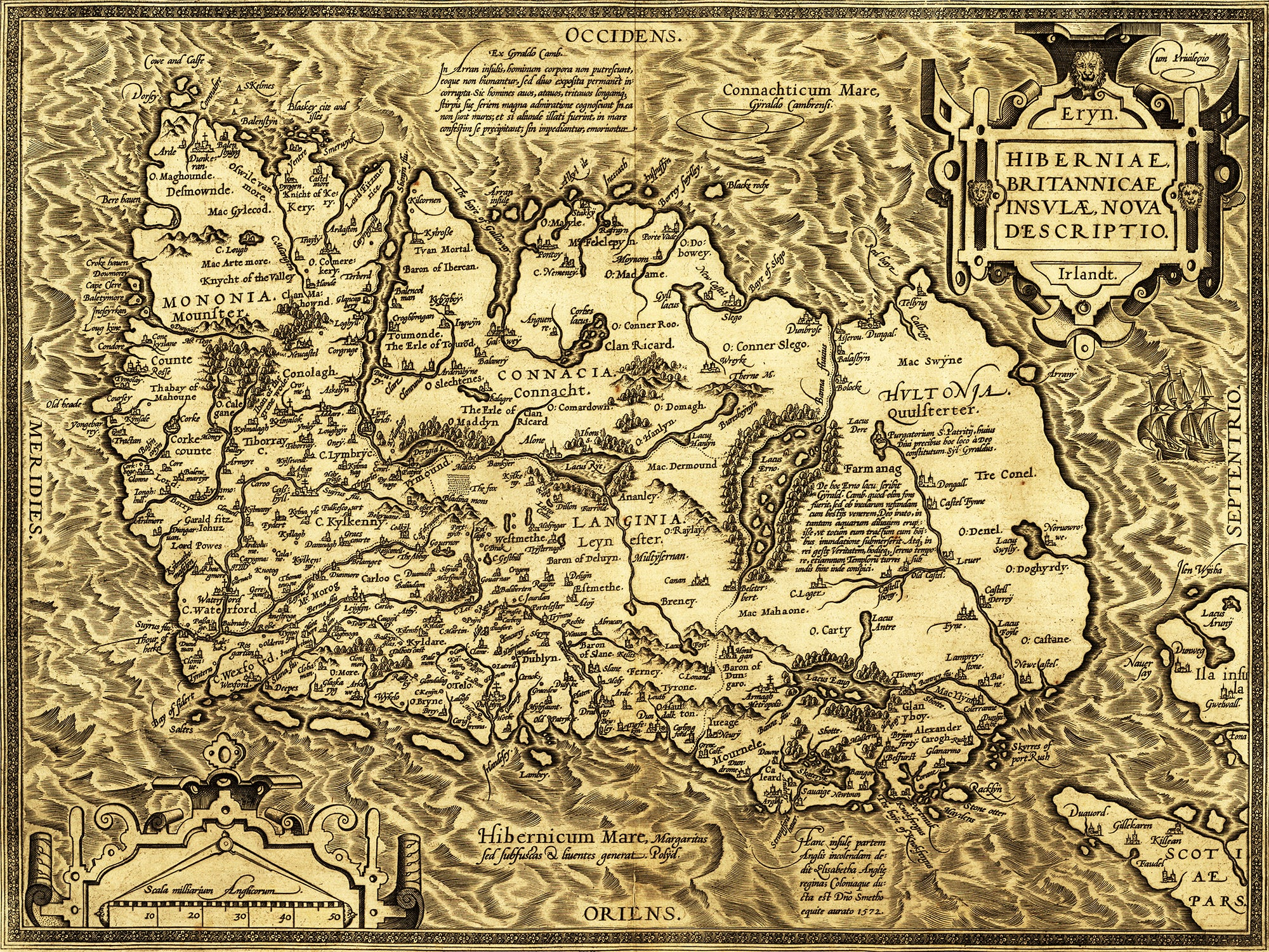 Oldest Map Of Ireland.This Is The Oldest Known Map Of Ireland Circa 1573 2000x1500