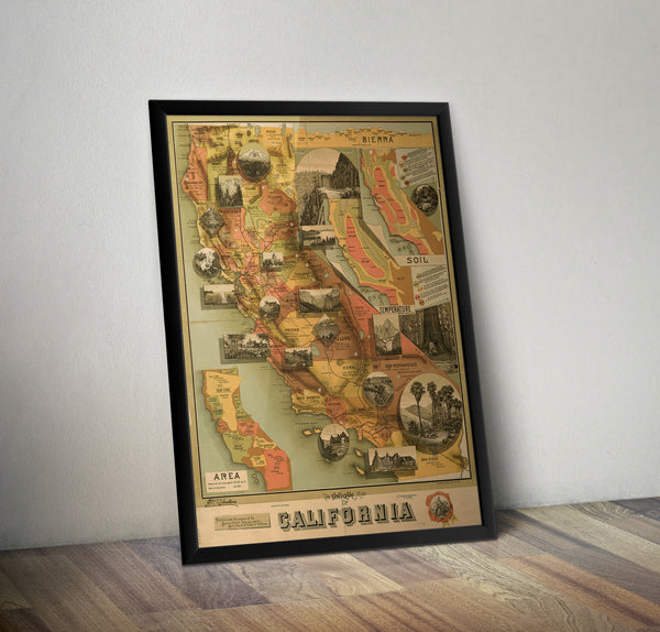 Commerical map of California- 1890 - Historia Posters