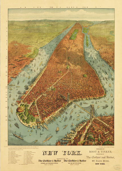 Panorama of New York City - 1879 - Historia Posters