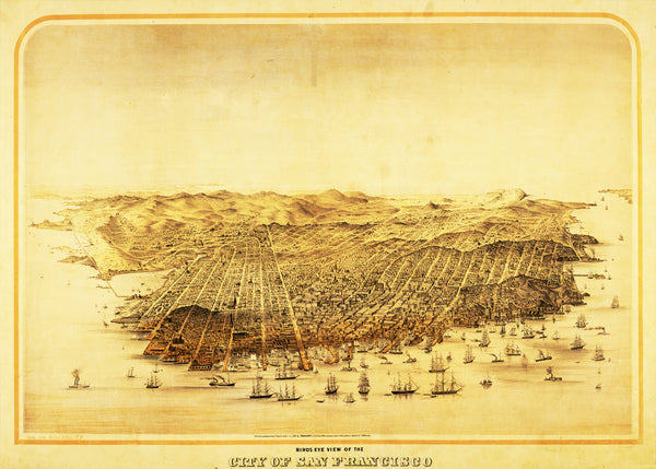 Panorama of San Francisco - 1868 - Historia Posters