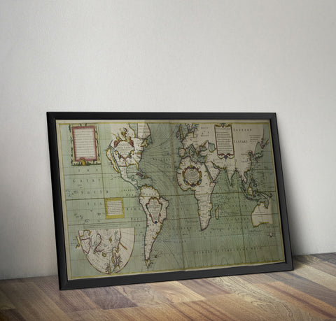 Sea Chart of the World - Dedicated to Edmund Halley -  1700 - Historia Posters