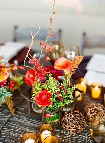 snapsuits fall wedding centerpiece