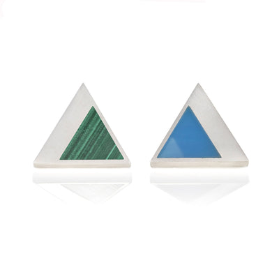 Front view of triangle shaped stud earrings with green malachite smaller triangular inlay on one stud and light blue jadeite triangular inlay on the other stud. Metal is silver