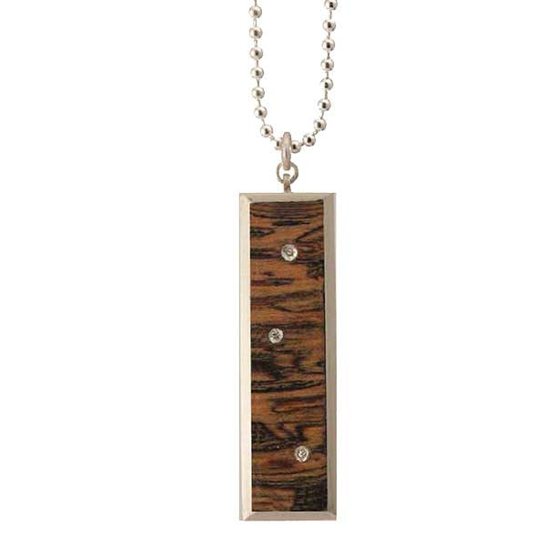 Bocote & diamond rectangular necklace