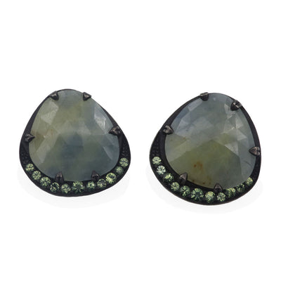 oxidized silver earrings with rose cut forest sapphires and mint green sapphire round brilliant cuts. Top view