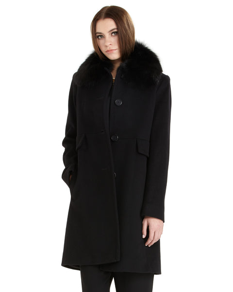 Fleurette Loro Piana Wool New City Coat with Genuine Fox Fur