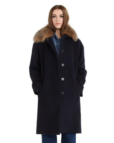 Fleurette Loro Piana Wool Coat with Genuine Fox Fur